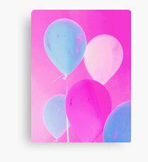 Gift for Teens - Balloony - Neon Pink Blue Balloons Art  Metal Print