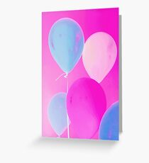 Gift for Teens - Balloony - Neon Pink Blue Balloons Art  Greeting Card