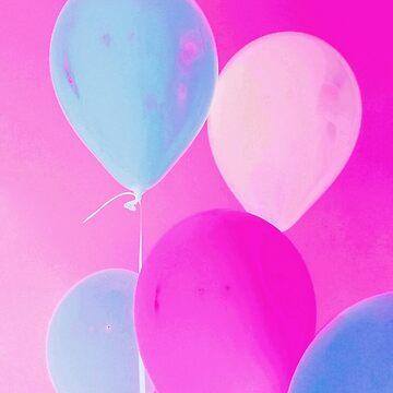 Gift for Teens - Balloony - Neon Pink Blue Balloons Art  by OneDayArt