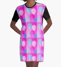 Gift for Teens - Balloony - Neon Pink Blue Balloons Art  Graphic T-Shirt Dress