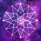 Cosmic Geometric Seed of Life Crystal Lotus Star Mandala in Purple by jitterfly