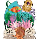 Fantasy Nautilus with Scuba Helmet Wearing Octopus, with Tropical Fish, Plants, and Seashells by LeeTowleArt