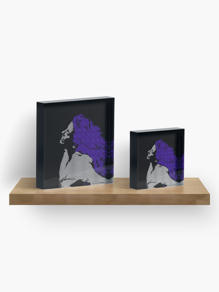 Alternate view of woman blue hair Freedom illustration engraving style Acrylic Block