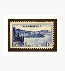 1934 6c Crater Lake, Oregon Postage Stamp Art Print