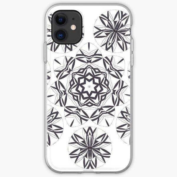 Lite on Dark Monochrome Blast Fall Into Winter Design by Green Bee Mee iPhone Soft Case