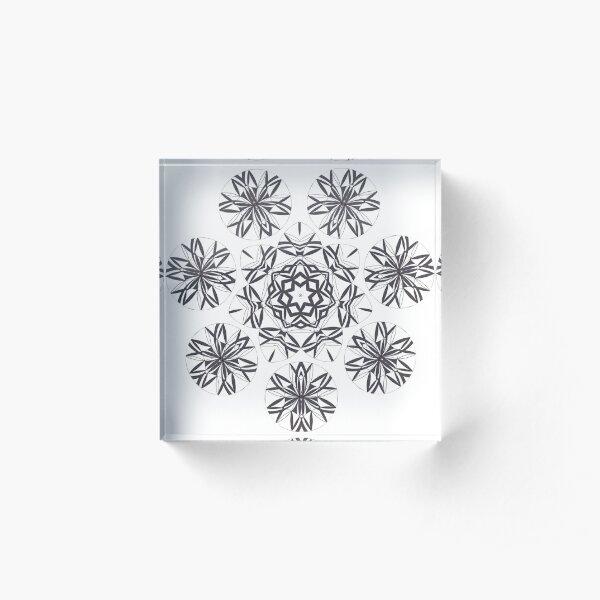 Lite on Dark Monochrome Blast Fall Into Winter Design by Green Bee Mee Acrylic Block