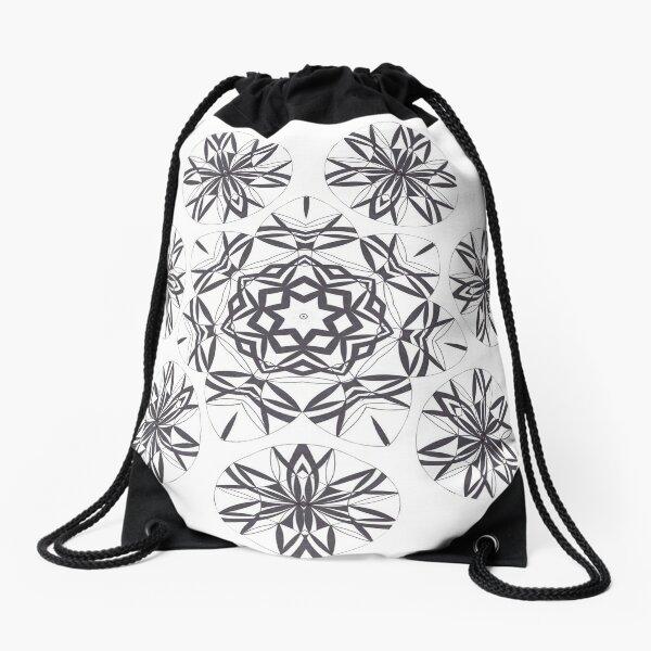 Lite on Dark Monochrome Blast Fall Into Winter Design by Green Bee Mee Drawstring Bag