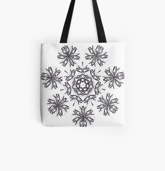 Lite on Dark Monochrome Blast Fall Into Winter Design by Green Bee Mee All Over Print Tote Bag