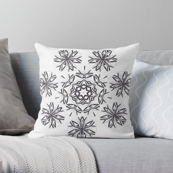 Lite on Dark Monochrome Blast Fall Into Winter Design by Green Bee Mee Throw Pillow