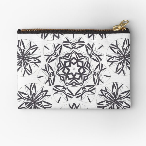 Lite on Dark Monochrome Blast Fall Into Winter Design by Green Bee Mee Zipper Pouch