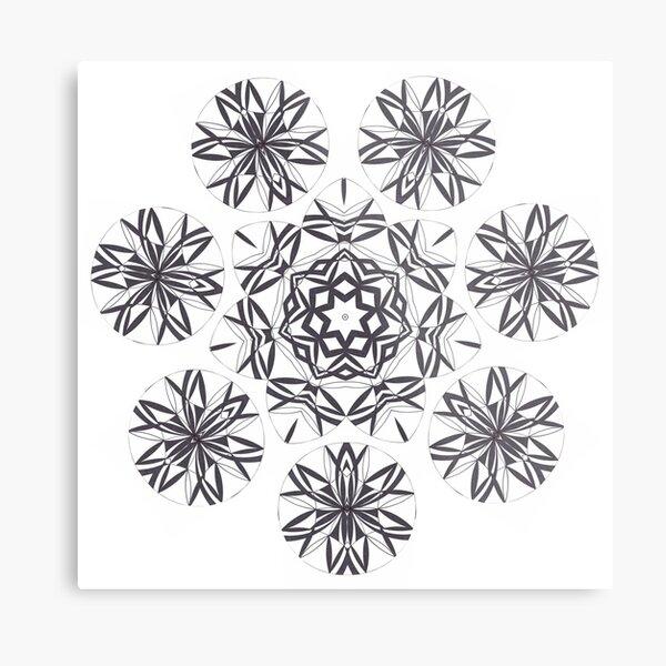 Lite on Dark Monochrome Blast Fall Into Winter Design by Green Bee Mee Metal Print