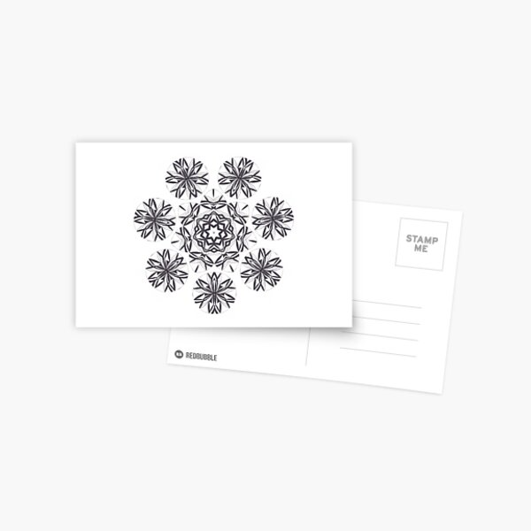 Lite on Dark Monochrome Blast Fall Into Winter Design by Green Bee Mee Postcard
