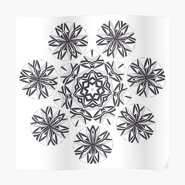 Lite on Dark Monochrome Blast Fall Into Winter Design by Green Bee Mee Poster