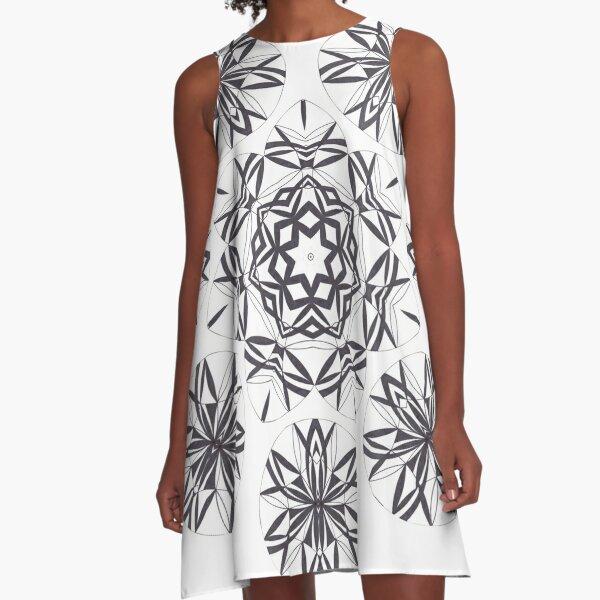 Lite on Dark Monochrome Blast Fall Into Winter Design by Green Bee Mee A-Line Dress