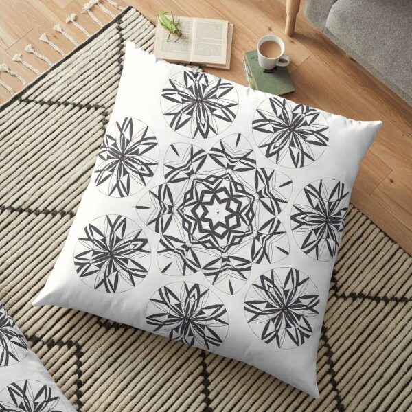 Lite on Dark Monochrome Blast Fall Into Winter Design by Green Bee Mee Floor Pillow