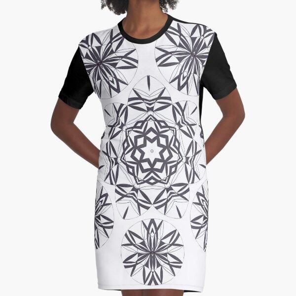 Lite on Dark Monochrome Blast Fall Into Winter Design by Green Bee Mee Graphic T-Shirt Dress