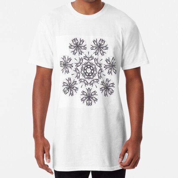 Lite on Dark Monochrome Blast Fall Into Winter Design by Green Bee Mee Long T-Shirt