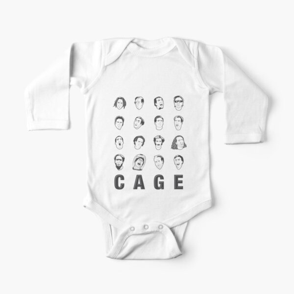 The Many Faces of Nicolas Cage Long Sleeve Baby One-Piece