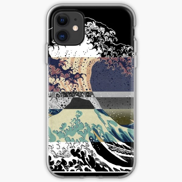 the great wave color glitch  iPhone Soft Case