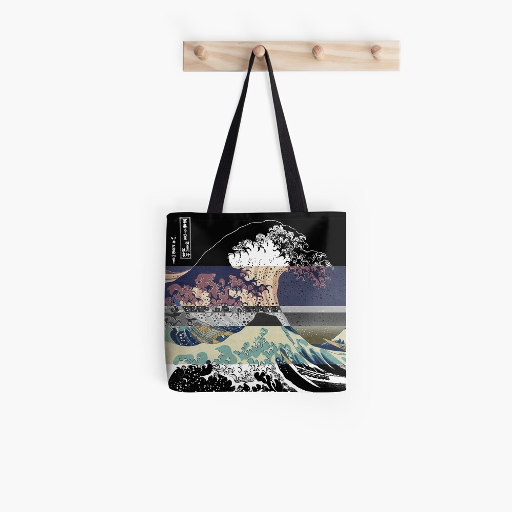 the great wave color glitch  Tote Bag