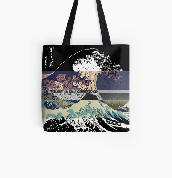the great wave color glitch  All Over Print Tote Bag