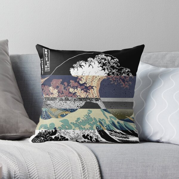 the great wave color glitch  Throw Pillow