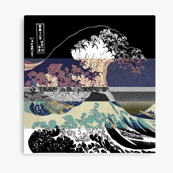 the great wave color glitch  Canvas Print