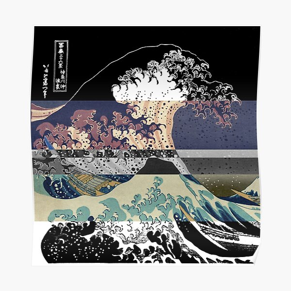 the great wave color glitch  Poster
