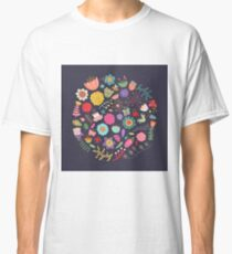 Bright Colored Flowers Floral Design Pattern Background Classic T-Shirt