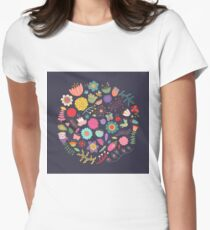 Bright Colored Flowers Floral Design Pattern Background Women's Fitted T-Shirt