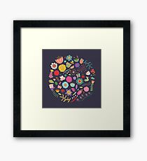 Bright Colored Flowers Floral Design Pattern Background Framed Print