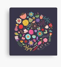 Bright Colored Flowers Floral Design Pattern Background Canvas Print