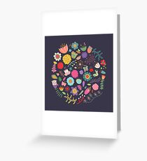 Bright Colored Flowers Floral Design Pattern Background Greeting Card