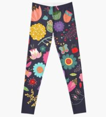 Bright Colored Flowers Floral Design Pattern Background Leggings