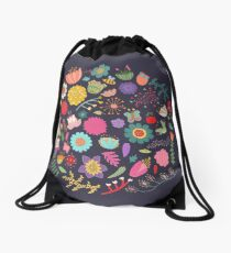 Bright Colored Flowers Floral Design Pattern Background Drawstring Bag