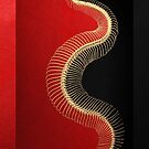 Gold Snake Skeleton over Black and Red Canvas by Serge Averbukh