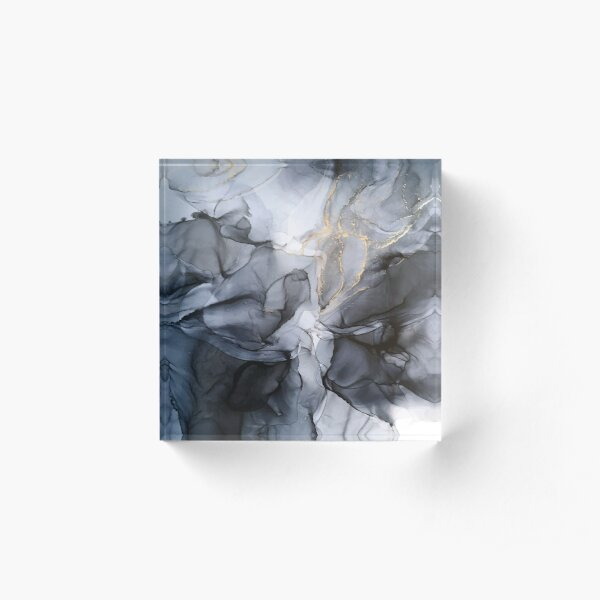 Calm but Dramatic Light Monochromatic Black & Grey Abstract Acrylic Block