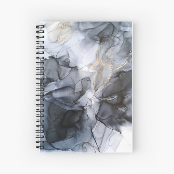 Calm but Dramatic Light Monochromatic Black & Grey Abstract Spiral Notebook