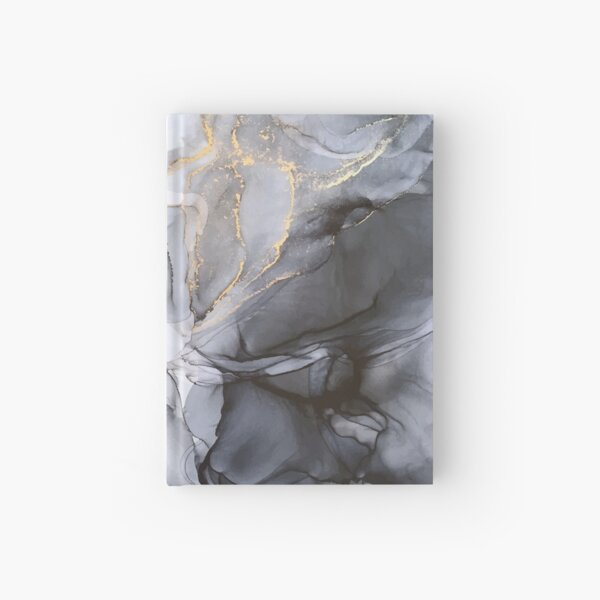 Calm but Dramatic Light Monochromatic Black & Grey Abstract Hardcover Journal