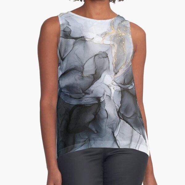 Calm but Dramatic Light Monochromatic Black & Grey Abstract Sleeveless Top