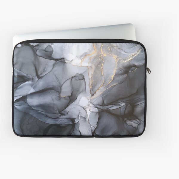 Calm but Dramatic Light Monochromatic Black & Grey Abstract Laptop Sleeve