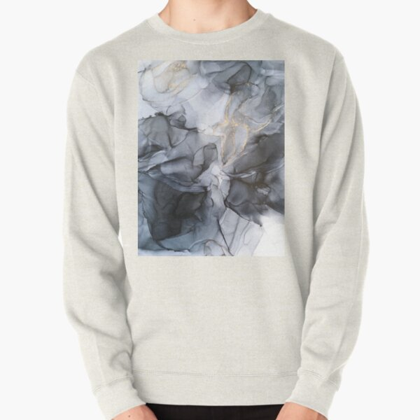 Calm but Dramatic Light Monochromatic Black & Grey Abstract Pullover Sweatshirt
