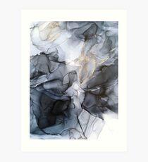 Calm but Dramatic Light Monochromatic Black & Grey Abstract Art Print
