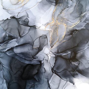 Calm but Dramatic Light Monochromatic Black & Grey Abstract by LSchulz19