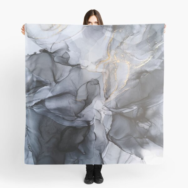 Calm but Dramatic Light Monochromatic Black & Grey Abstract Scarf