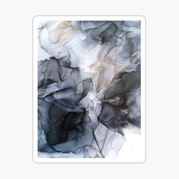 Calm but Dramatic Light Monochromatic Black & Grey Abstract Sticker