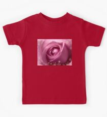 Gorgeous Soft Pink Rose With Gold Frames 2 Kids Tee