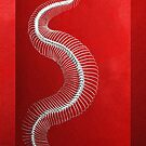 Silver Snake Skeleton over Red Canvas by Serge Averbukh