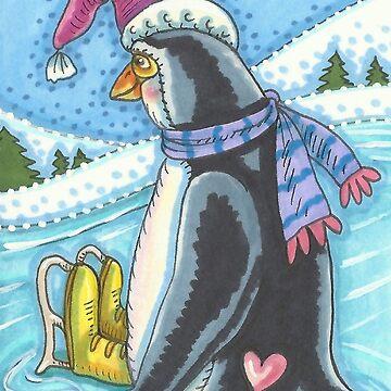 COLD BOTTOM WARM HEART PENGUIN by SusanBrackArt