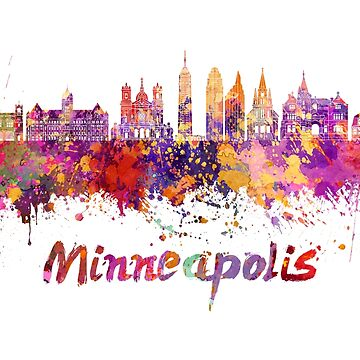Minneapolis skyline in watercolor splatters by paulrommer